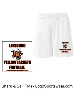 Leesburg Yellow Jackets Football Youth B-Dry Core Short by Badger, White Design Zoom
